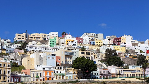 Colourful nested houses in the San Juan district, Las Palmas de Gran Canaria, Gran Canaria, Canary Islands, Spain, Europe, PublicGround