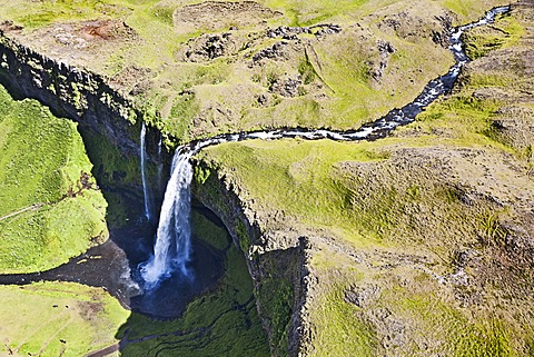 Aerial view, Seljalandsfoss waterfall on the edge of the highlands of Iceland, Europe