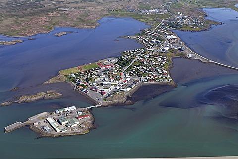 Aerial view, city of Borgarnes on a peninsula in Borgarfjoerdur, Borgarfjoer√∞ur Fjord, Iceland, Europe