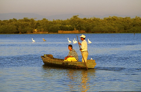 Two men in boat , Mexico Nayarit Mexcaltitan