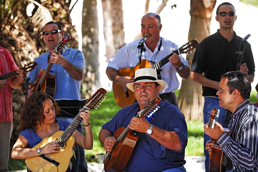 Folklore music at sunday market in Antigua , Fuerteventura , Canary Islands