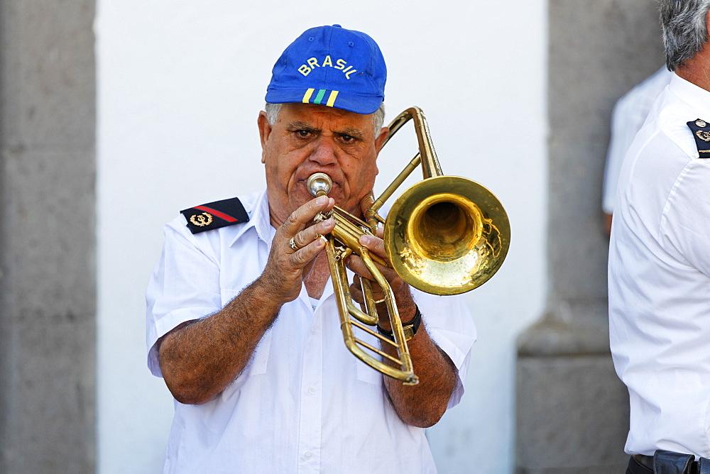 Trombone player, San Bartolome de Tirajana, Gran Canaria, Spain