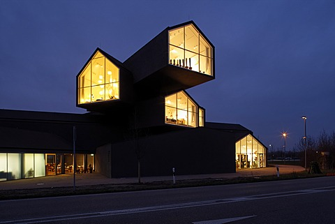 Vitra Haus building, by Herzog & de Meuron, evening mood, with traffic speeding by, architectural park of the Vitra company, Weil am Rhein, Baden-Wuerttemberg, Germany, Europe