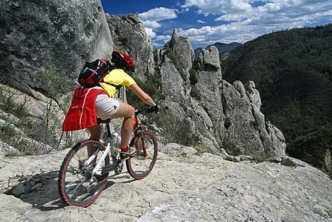 Mountainbiker, Lucanian Dolomites, Basilikata, Italy