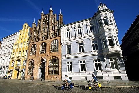 Town hall square, bikers, Stralsund, Mecklenburg-Vorpommern, Germany