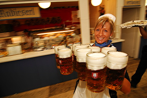Waitress, Wies\'n, October fest, Munich, Bavaria, Germany, Europe - 832-371801