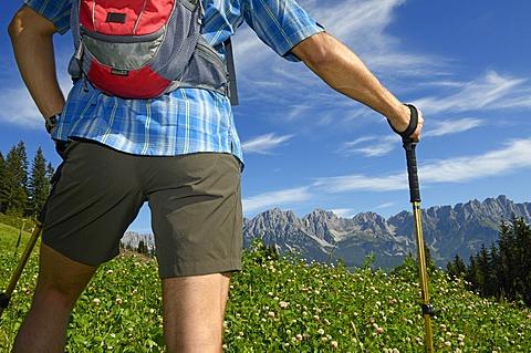 Hiker on Hausberg Mountain, Hartkaiser, view towards the Wilder Kaiser Mountains, Tyrol, Austria, Europe