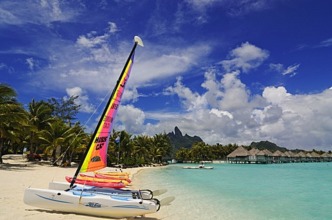 Beach, St. Regis Bora Bora Resort, Bora Bora, Leeward Islands, Society Islands, French Polynesia, Pacific Ocean