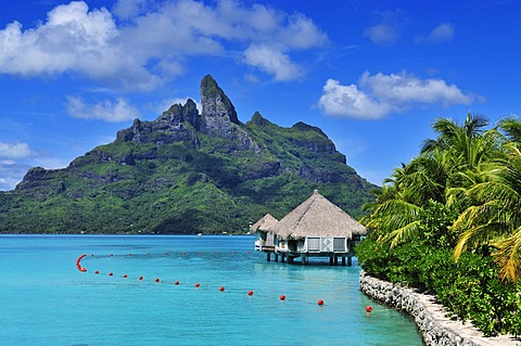 Mount Otemanu, St. Regis Bora Bora Resort, Bora Bora, Leeward Islands, Society Islands, French Polynesia, Pacific Ocean
