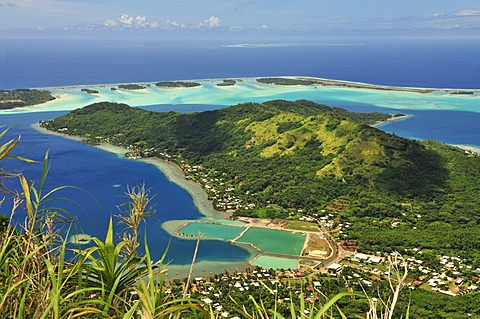 View of Vaitape, Bora Bora, Leeward Islands, Society Islands, French Polynesia, Pacific Ocean