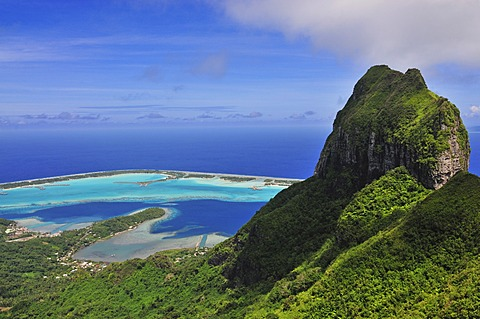 View of the reef, atoll, Motu and Mount Otemanu, from Mount Pahia, Bora Bora, Leeward Islands, Society Islands, French Polynesia, Pacific Ocean