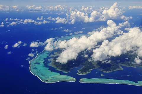 Bora Bora from the plane, Leeward Islands, Society Islands, French Polynesia, Pacific Ocean