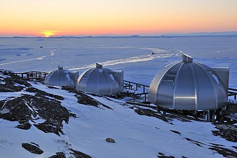 Igloos made of aluminum, Arctic Hotel, Ilulissat, Greenland, Arctic North America