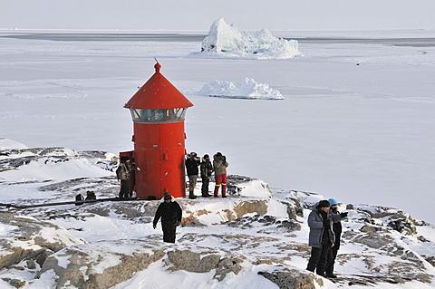 Lighthouse, Qeqertarsuaq or Disko Island, Greenland, Arctic North America