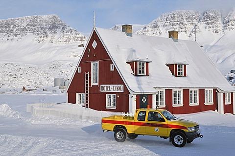 Pickup in front of the Hotel disco, Qeqertarsuaq or Disko Island, Greenland, Arctic North America