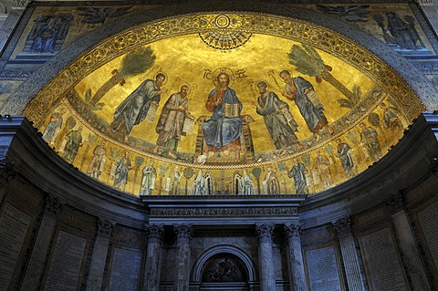 Interior view, mosaic, Basilica San Paolo fuori le Mura, Basilica of Saint Paul Outside the Walls, Rome, Italy, Europe