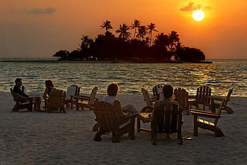 People are sitting on chairs at the beach with long drinks in front of a golden sundown, Maldive island, Rihiveli, Island, Maldives, South Male Atoll, Archipelago, Indian Ocean, Asia - 832-372214