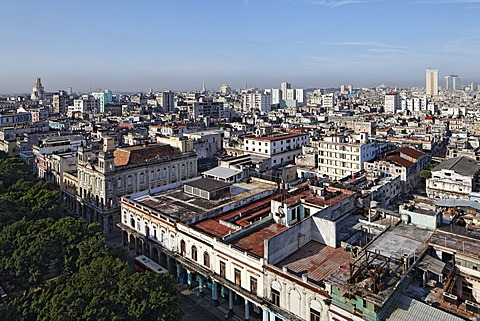 Prado, Paseo de Marti, tree-lined boulevard, panoramic view over the rooftops of Havana, Villa San Cristobal de La Habana, La Habana, Havana, old town, UNESCO World Heritage Site, Republic of Cuba, Caribbean, Central America