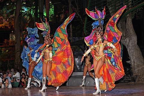 Dancers at the Tropicana open-air nightclub in the suburb of Marianao, La Habana, Havana, Villa San Cristobal de La Habana, Republic of Cuba, Caribbean, Central America