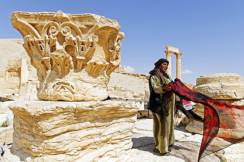 Sale of souvenirs, Palmyra excavation site, Tadmur, Syria, Asia