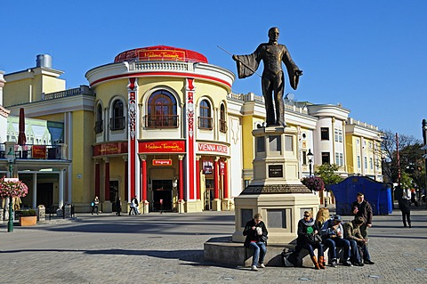 Monument of Basilio Calafati in front of Madame Tussauds Wax Museum, Prater amusement park, Vienna, Austria, Europe