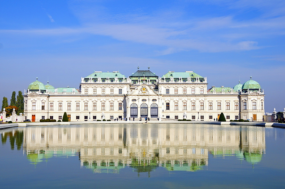 Schloss Belvedere Palace and fountain with its reflection, Vienna, Austria, Europe