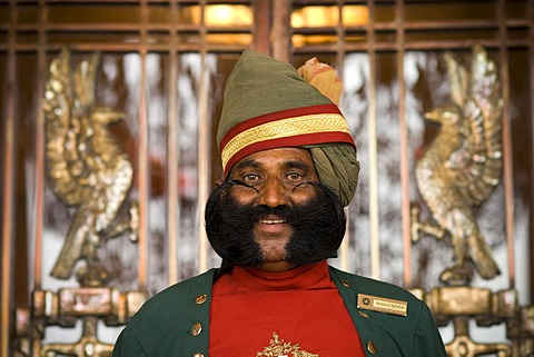 Doorman at the Umaid Bhawan Palace, Jodhpur, Rajasthan, North India, Asia