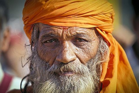 Sadhu, portrait, Kumbh Mela or Kumbha, Haridwar, Uttarakhand, formerly Uttaranchal, Indian Himalayas, North India, India, Asia