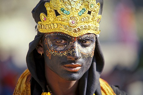 Young man dressed as the Hindu shepherd god Krishna, portrait, Kumbh or Kumbha Mela, Haridwar, Uttarakhand, formerly Uttaranchal, Indian Himalayas, North India, India, Asia
