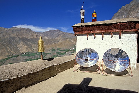 Water is heated using solar energy, Lingshed Monastery, Zanskar, Ladakh, Jammu and Kashmir, North India, India, Indian Himalayas, Asia