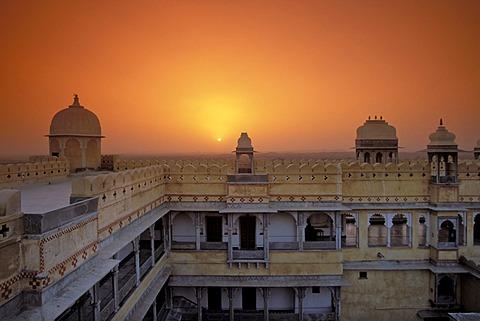Karni Fort Bambora Palace Hotel, sunset, Rajasthan, India, Asia