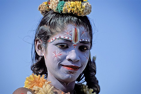 Boy disguised as God Shiva with blue face paint, portrait, Hampi, Vijayanagar, Karnataka, southern India, India, Asia
