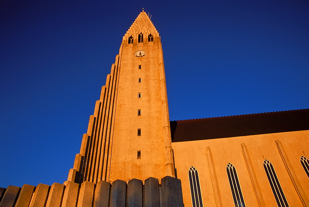 Midnight sun at Hallgrimskirkja church of church of Hallgrímur, landmark of Reykjavik, Iceland, Europe