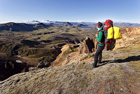 Young woman trekking, Laugavegur, Iceland, Europe