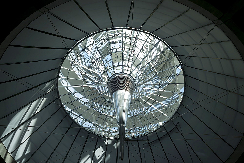 Interior shot of the glass dome of the Reichstag Building looking up from the plenary hall, Berlin, Germany, Europe