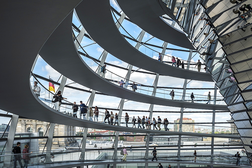 Interior shot of the dome of the Reichstag Building, Berlin, Germany, Europe