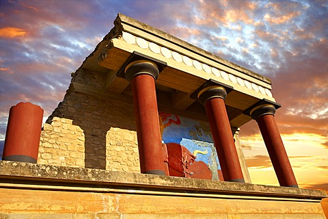 Arthur Evans reconstruction of the North Propylaeum, Minoan archaeological site, Knossos, Crete, Greece, Europe
