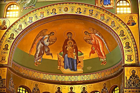 Reconstructed Byzantine style frescos of the 4th century AD, 3-aisled Romanesque basilica of Saint Demetrius, or Hagios Demetrios,             a Palaeochristian and Byzantine Monument of Thessaloniki, UNESCO World Heritage Site, Greece, Europe