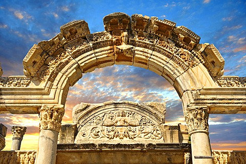 The Temple of Emperor Hadrian on Curetes Street, 117 - 138 A.D., Ephesus Archaeological Site, Anatolia, Turkey