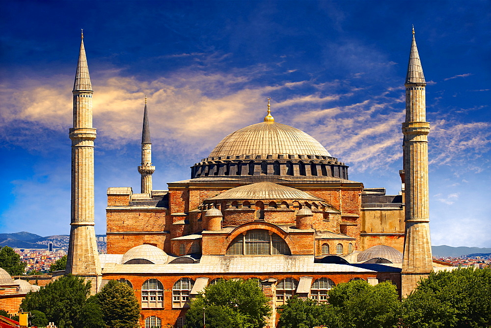 6th century Byzantine, Eastern Roman Hagia Sophia, Ayasofya, built by Emperor Justinian, Istanbul, Turkey