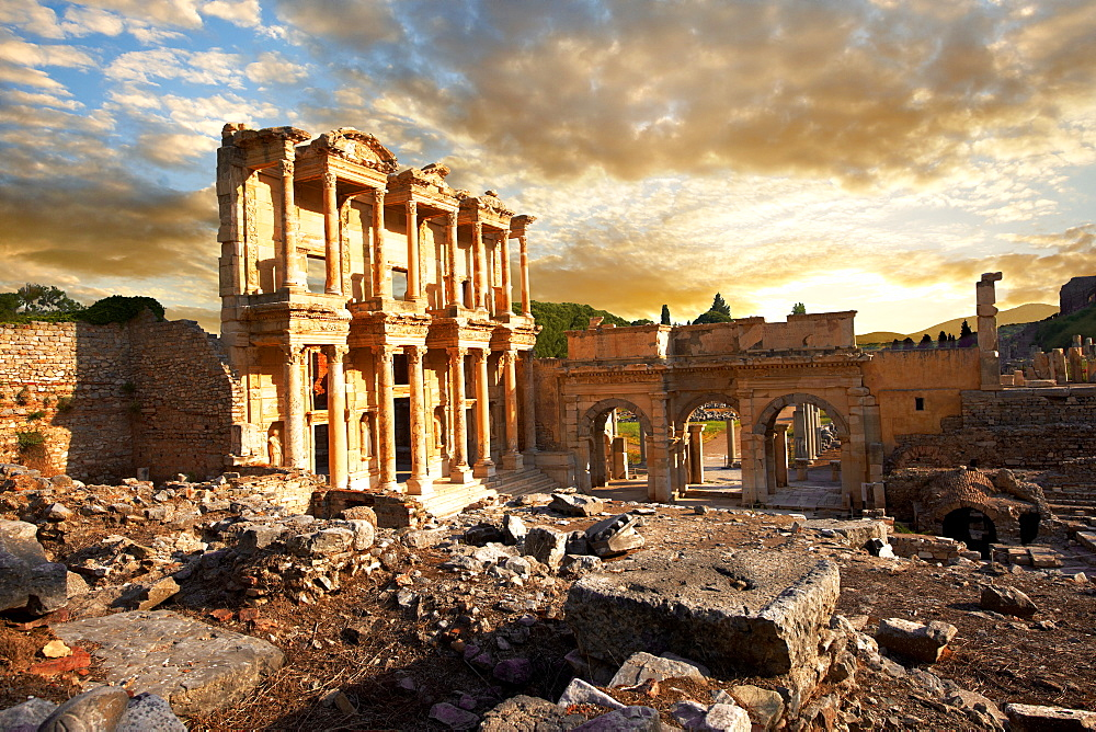 The library of Celsus at sunrise, Roman ruins of Ephesus, Turkey - 832-372714