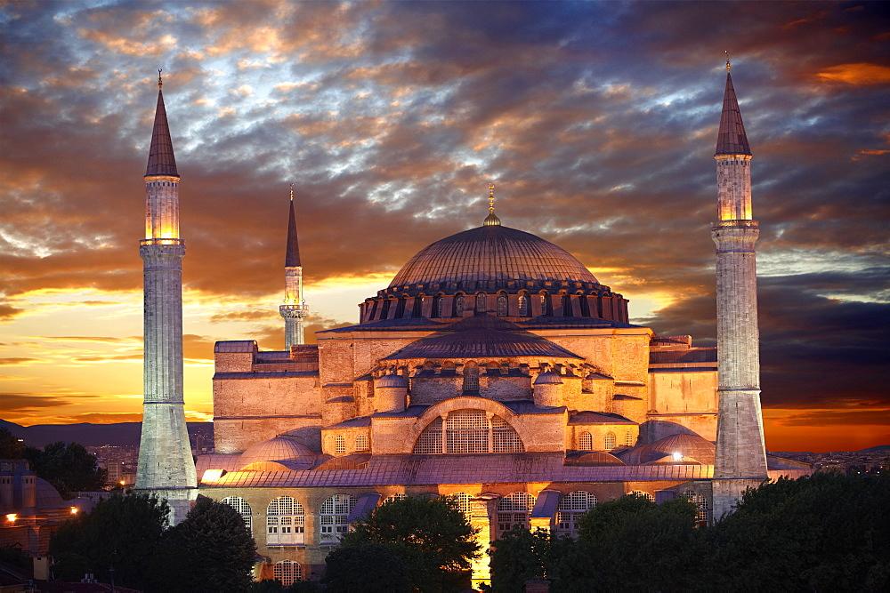 6th century Byzantine, Eastern Roman Hagia Sophia, Ayasofya, at sunset, Istanbul, Turkey