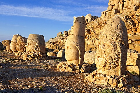 Broken statues around the tomb of Commagene King Antiochius, on top of Mount Nemrut, Turkey