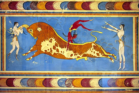 Bull-leaping fresco, reconstruction by Arthur Evans, Knossos, Minoan archaeological site, Crete, Greece, Europe