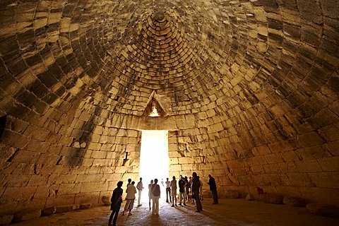 "Treasury of Atreus or Tomb of Agamemnon, a ""tholos"" tomb on the Panagitsa Hill at Mycenae, Peloponnese, Greece, Europe"