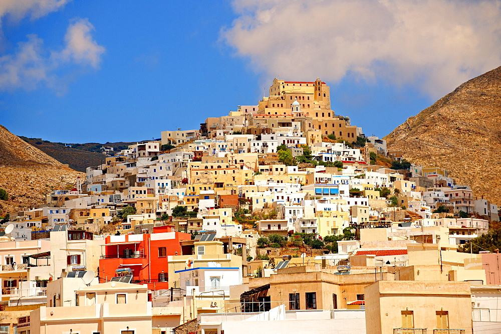 The Venetian city quarter of Ano Syros topped by the Catholic basilica of San Giorgio, Syros, Cyclades Islands, Greece, Europe - 832-372777