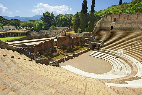 The Roman Great Theatre of Pompeii, seating up to 5000 spectators the theatre was originally built in Hellenistic time, 200-150 B.C, Italy, Europe