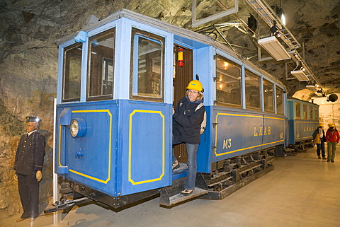 Historic tram in the mining museum in the LKAB InfoMine of the LKAB iron ore mine in Kiruna, Lappland, North Sweden, Sweden