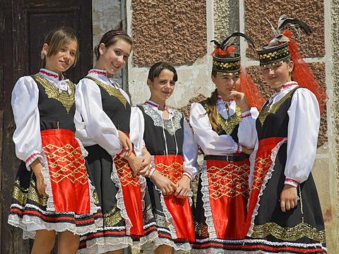 Five young girls in traditional Ukrainian costume, Plotzk, Ukraine
