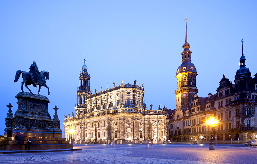 Catholic Church of the Royal Court of Saxony, cathedral, Royal Palace with Hausmannturm tower, Theatreplatz square, Dresden, Saxony, Germany, Europe, PublicGround